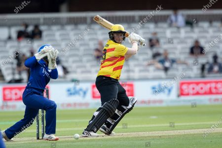 Sammy-Jo Johnson, Trent Rockets plays late behind square on the offside during London Spirit Women vs Trent Rockets Women, The Hundred Cricket at Lord's Cricket Ground on 29th July 2021