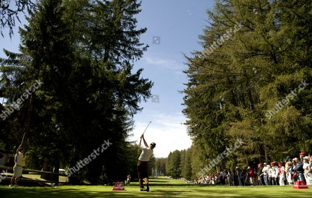 Miguel Angle Jimenez of Spain tees off on the 5th hole on his way to a -21 and tournament win