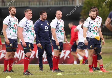 British & Irish Lions Squad Training, South Africa 29/7/2021. Iain Henderson, Tadhg Furlong, Zander Fagerson, Ken Owens, Luke Cowan-Dickie and Maro Itoje
