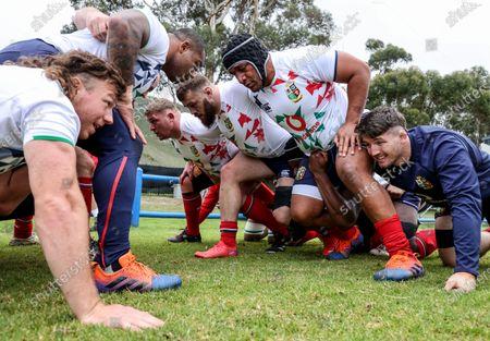British & Irish Lions Squad Training, South Africa 29/7/2021. Hamish Watson, Kyle Sinckler, Mako Vunipola, Luke Cowan-Dickie, Tadhg Furlong and Tom Curry