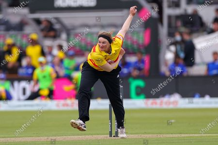 Sammy-Jo Johnson of Trent Rockets bowling during the The Hundred match between London Spirit Women and Trent Rockets Women at Lord's Cricket Ground, St John's Wood
