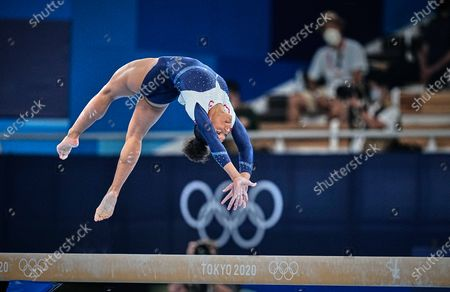Stock Photo of Melanie De Jesus Dos Santos of France during the all around artistic gymnastics final at the Olympics at Ariake Gymnastics Centre, Tokyo, Japan on July 29, 2021.