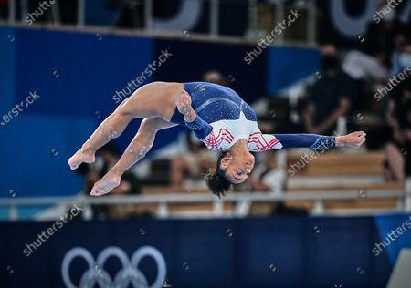 Melanie De Jesus Dos Santos of France during the all around artistic gymnastics final at the Olympics at Ariake Gymnastics Centre, Tokyo, Japan on July 29, 2021.
