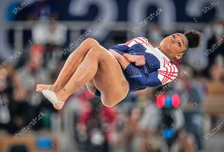 Stock Picture of Melanie De Jesus Dos Santos of France during the all around artistic gymnastics final at the Olympics at Ariake Gymnastics Centre, Tokyo, Japan on July 29, 2021.
