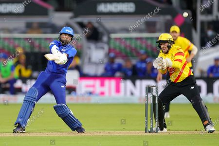 Mohammad Amir of London Spirit Men batting during the The Hundred match between London Spirit Men and Trent Rockets at Lord's Cricket Ground, St John's Wood