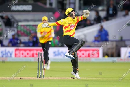 Wicket Tom Moores of Trent Rockets Men celebrates taking the wicket of  Mohammad Amir of London Spirit Menduring the The Hundred match between London Spirit Men and Trent Rockets at Lord's Cricket Ground, St John's Wood