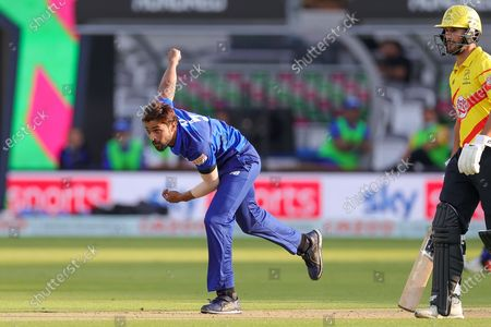 Mohammad Amir of London Spirit Men bowling during the The Hundred match between London Spirit Men and Trent Rockets at Lord's Cricket Ground, St John's Wood