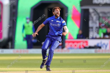 Mohammad Amir of London Spirit Men appeals during the The Hundred match between London Spirit Men and Trent Rockets at Lord's Cricket Ground, St John's Wood