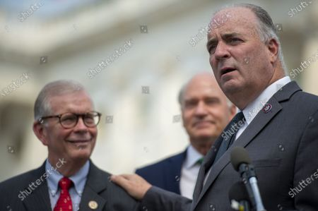 Rep. Dan Kildee, D-Mich., speaks with other representatives during a news conference at the US Capitol calling for the release of Trevor Reed, a former U.S. Marine, who has been detained since 2019 and was sentenced to nine years in a Russian prison, and Paul Whelan, who has been detained in Russia since 2018 and whose reasons for confinement are unknown in Washington, DC., on Thursday, July 29, 2021.