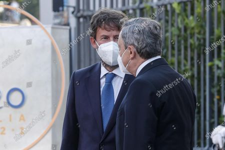 Italian Minister of Culture Dario Franceschini (L) and Italian Prime Minister Mario Draghi, partecipate at the G20 meeting of the Ministers of Culture in the Colosseum, in Rome, Italy, 29 July 2021.