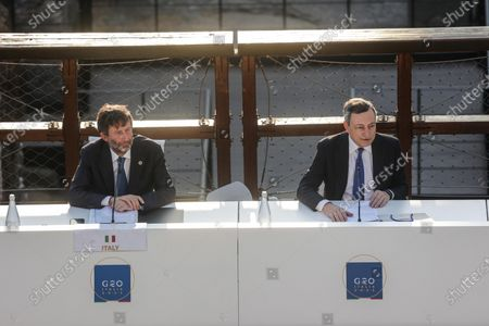 Italian Minister of Culture Dario Franceschini (L) and Italian Prime Minister Mario Draghi, participate at the G20 meeting of the Ministers of Culture in the Colosseum, in Rome, Italy, 29 July 2021.