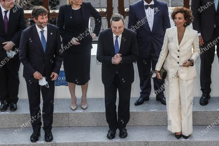 (L-R) Italian Minister of Culture Dario Franceschini, Italian Prime Minister Mario Draghi and The Director General of UNESCO, Audrey Azoulay participate at the G20 meeting of the Ministers of Culture in the Colosseum, in Rome, Italy, 29 July 2021.