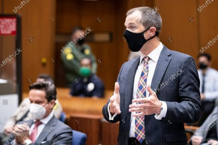 Stock Photo of Los Angeles Deputy District Attorney Paul Thompson, right, speaks during a pre-trial hearing for Harvey Weinstein in Los Angeles