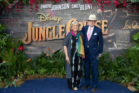 """Hilary Amanda Jane and Michael Whitehall attend Disney's """"Jungle Cruise"""" UK premiere at Cineworld Leicester Square on July 29, 2021"""