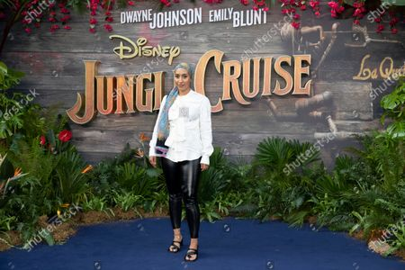 """Mariah Idrissi attends Disney's """"Jungle Cruise"""" UK premiere at Cineworld Leicester Square on July 29, 2021"""