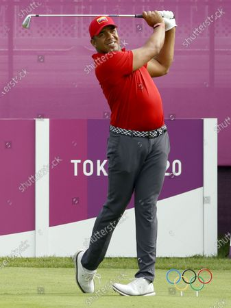 Stock Picture of Jhonattan Vegas of Venezuela tees on the first hole during the second round of the Golf events of the Tokyo 2020 Olympic Games at the Kasumigaseki Country Club in Kawagoe, Japan, 30 July 2021.