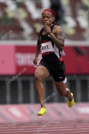 Stock Picture of Michelle-Lee Ahye, of Trinidad and Tobago, wins a heat in the women's 100-meter run at the 2020 Summer Olympics, in Tokyo