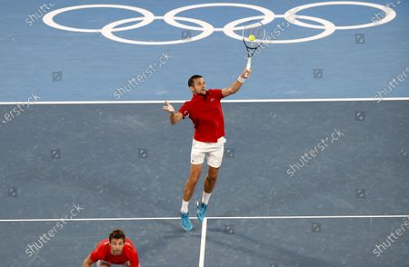 Mate Pavic (R) and Nikola Mektic (L) of Croatia in action during the Men's Doubles Gold Medal match, Tennis events of the Tokyo 2020 Olympic Games at the Ariake Coliseum in Tokyo, Japan, 30 July 2021.