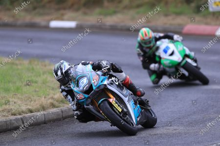 Stock Photo of Michael Dunlop (Yamaha R6) takes the win in the second of the SuperSport races and his third of the race meeting; Armoy, Antrim, Northern Ireland; Armoy Road Races, The Race of Legends Motor Cycling, Day Two.