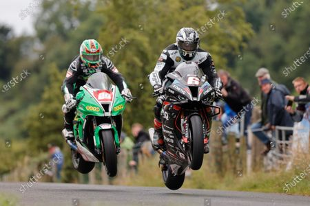 Michael Dunlop (TAS Racing Synetic BMW) and Derek McGee (B&W Racing / Diamond Edge Cutting) during the Race of Legends; Armoy, Antrim, Northern Ireland; Armoy Road Races, The Race of Legends Motor Cycling, Day Two.