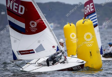Marit Bouwmeester of the Netherlands competes in the Women's Laser Radial Class during the Sailing events of the Tokyo 2020 Olympic Games in Enoshima, Japan, 30 July 2021.