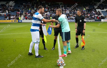 Lee Wallace of QPR  & Jamie Vardy of Leicester City exchange pennants before kick off
