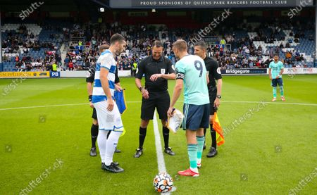 Lee Wallace of QPR  & Jamie Vardy of Leicester City coin toss