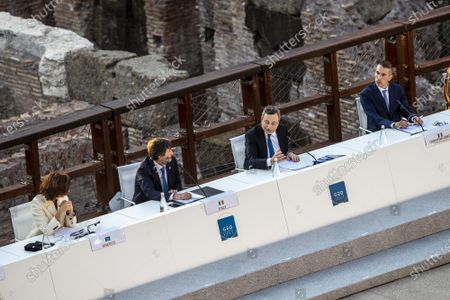 Stock Image of The Director General of UNESCO Audrey Azoulay, Italian Minister of Culture Dario Franceschini, Italian Prime Minister Mario Draghi, Director of Egyptian museum in Turin Christian Greco during the first day of the G20 meeting of the Ministers of Culture in the Colosseum
