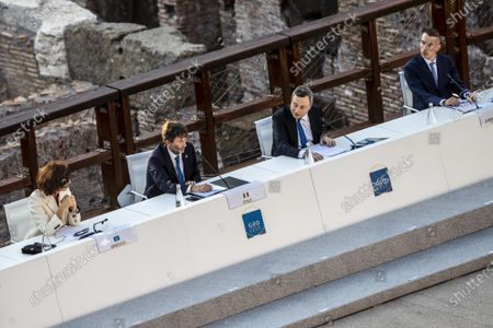Stock Picture of The Director General of UNESCO Audrey Azoulay, Italian Minister of Culture Dario Franceschini, Italian Prime Minister Mario Draghi, Director of Egyptian museum in Turin Christian Greco during the first day of the G20 meeting of the Ministers of Culture in the Colosseum