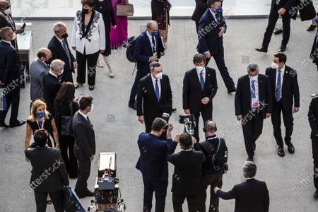 Italian Prime Minister Mario Draghi, Italian Minister of Culture Dario Franceschini during the first day of the G20 meeting of the Ministers of Culture in the Colosseum