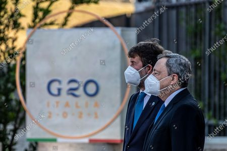 Italian Minister of Culture Dario Franceschini, Italian Prime Minister Mario Draghi during the first day of the G20 meeting of the Ministers of Culture in the Colosseum
