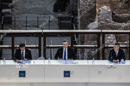 Italian Minister of Culture Dario Franceschini, Italian Prime Minister Mario Draghi, Director of Egyptian Museum in Turin Christian Greco during the first day of the G20 meeting of the Ministers of Culture in the Colosseum