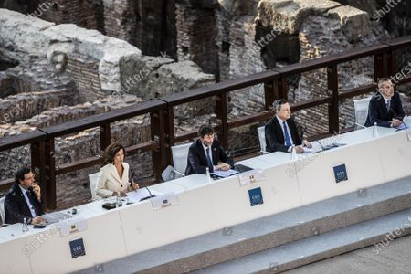 The Director General of UNESCO, Audrey Azoulay, Italian Minister of Culture Dario Franceschini, Italian Prime Minister Mario Draghi, Director of Egyptian museum in Turin Christian Greco during the first day of the G20 meeting of the Ministers of Culture in the Colosseum