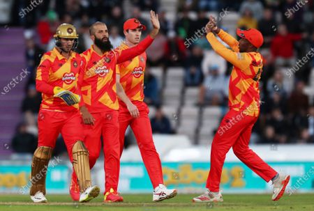 Stock Image of Moeen Ali of Birmingham Phoenix celebrates a wicket.