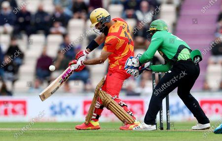 Moeen Ali of Birmingham Phoenix in batting action.