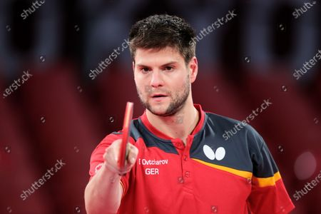 Dimitrij Ovtcharov looks on during the Men's Table Tennis Singles Bronze Medal Match between Lin Yun Ju of Chinese Taipei and Dimitrij Ovtcharov of Germany on Day 7 of the Tokyo 2020 Olympic Games