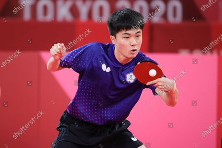 Lin Yun Ju plays a shot during the Men's Table Tennis Singles Bronze Medal Match between Lin Yun Ju of Chinese Taipei and Dimitrij Ovtcharov of Germany on Day 7 of the Tokyo 2020 Olympic Games