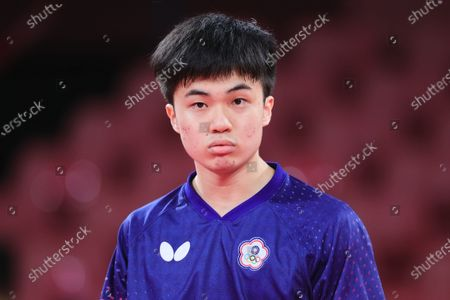 Lin Yun Ju looks on during the Men's Table Tennis Singles Bronze Medal Match between Lin Yun Ju of Chinese Taipei and Dimitrij Ovtcharov of Germany on Day 7 of the Tokyo 2020 Olympic Games