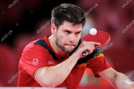 Dimitrij Ovtcharov plays a shot during the Men's Table Tennis Singles Bronze Medal Match between Lin Yun Ju of Chinese Taipei and Dimitrij Ovtcharov of Germany on Day 7 of the Tokyo 2020 Olympic Games
