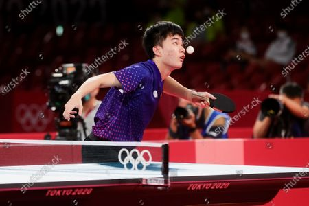 Lin Yun Ju serves during the Men's Table Tennis Singles Bronze Medal Match between Lin Yun Ju of Chinese Taipei and Dimitrij Ovtcharov of Germany on Day 7 of the Tokyo 2020 Olympic Games