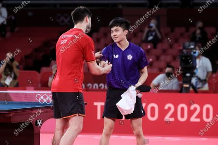 Dimitrij Ovtcharov defeats Lin Yun Ju during the Men's Table Tennis Singles Bronze Medal Match between Lin Yun Ju of Chinese Taipei and Dimitrij Ovtcharov of Germany on Day 7 of the Tokyo 2020 Olympic Games
