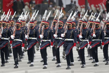 Members of the Mariano Santos Mateus Company of the National Police participate in a military parade for the National Holidays, at the Army Headquarters, in Lima, Peru, 30 July 2021. In this parade, the Armed Forces and the National Police of Peru recognized President Pedro Castillo as their supreme leader.