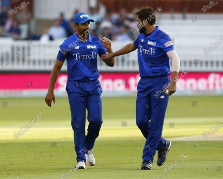 L-R Ravi Bopara of London Spirit and Mohammad Amir of London Spirit during The Hundred between London Spirit Men and Trent Rockets Men at Lord's Stadium , London, UK on 29th July 2021