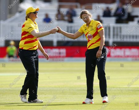 Stock Picture of L-R Sammy-Jo Johnson of Trent Rockets Women and Natalie (Nat) Sciver of Trent Rockets Women during The Hundred between London Spirit Women and Trent Rockets Women at Lord's Stadium , London, UK on 29th July 2021