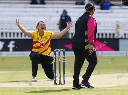 Sammy-Jo Johnson of Trent Rockets Women claims LBW not givenduring The Hundred between London Spirit Women and Trent Rockets Women at Lord's Stadium , London, UK on 29th July 2021