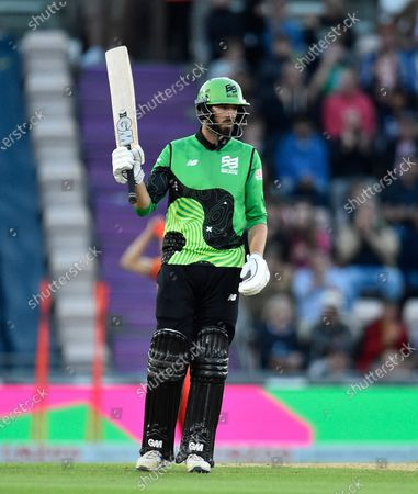 50 - James Vince of Southern Brave celebrates scoring a half century during the The Hundred match between Southern Brave and Birmingham Phoenix Men at the Ageas Bowl, Southampton