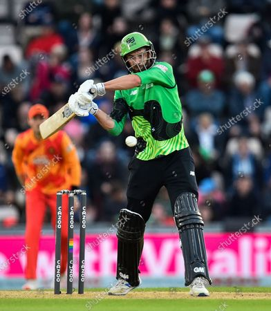 James Vince of Southern Brave plays an attacking shot during the The Hundred match between Southern Brave and Birmingham Phoenix Men at the Ageas Bowl, Southampton