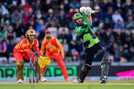 James Vince of Southern Brave hits the ball over the boundary for six runs during the The Hundred match between Southern Brave and Birmingham Phoenix Men at the Ageas Bowl, Southampton