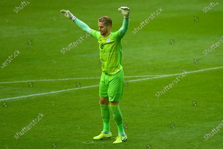 Wigan Athletic's goalkeeper Ben Amos (1) before the Pre-Season Friendly match between Wigan Athletic and Preston North End at the DW Stadium, Wigan