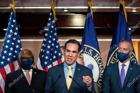 Rep. Pete Aguilar (D-CA) speaks during a news conference on achievements including the For The People Act and the agenda for the remainder of the year at the U.S. Capitol Building on Friday, July 30, 2021 in Washington, DC. (Kent Nishimura / Los Angeles Times)